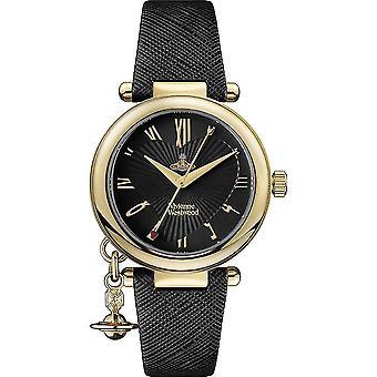 Vivienne Westwood Vv006gdblk Orb Heart Gold & Black Leather Dameshorloge