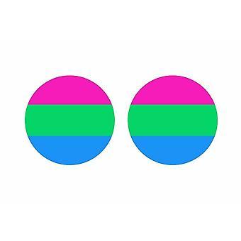 2x stick klistermärke rund cocarde flagga polysexuell hbt polyessexuell