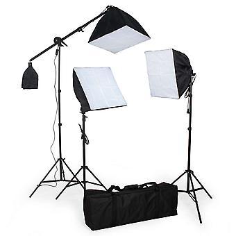 tectake Studiolampor set med glödlampa + softbox