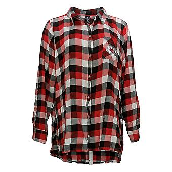 NFL Women's Top XXL Women's Breakout Flannel Tunic Red Check Chiefs A387691