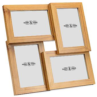"""Four 6 x 4"""" Aperture Multi Picture Wood Photo Frame for Free Standing or Wall Mounted Photos   M&W"""