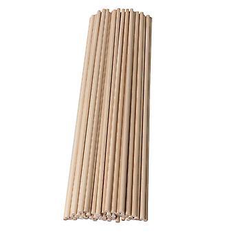 50x Okrągły Brzoza Drewniany Craft Stick Drewniane Kołki kołków 5x305mm do Toffi