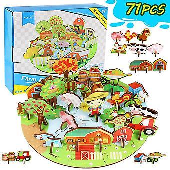 FengChun 3D Holzpuzzle fr Kinder, Kinderspielzeug Spielzeug Puzzle Kreatives Kinderpuzzle Bauernhof