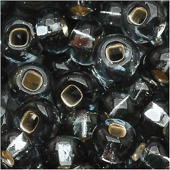 חרוזי זרעים צ'כיים 6/0 רדיד כסף יהלום שחור מרופד 1 עוז