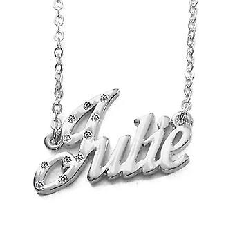 """L Julie - 18 karaattinen valkoinen kullattu kaulakoru, mukautettu nimi, säädettävä ketju 16""""- 19"""", Regal Packaging"""