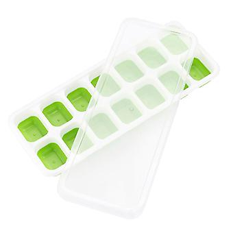 25cm 14 Grid Food Grade Ice Tray Home With Lid DIY Ice Cube Mold 4Pc Covered Ice Mould(Green)