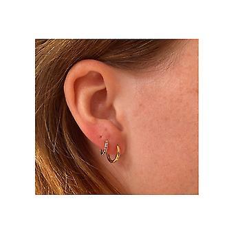 Boho betty dorval gold plain hoop huggie earrings