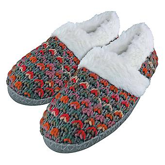 Dunlop - ladies fleece lined warm knitted slippers