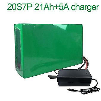 Battery With Charger 5a 21ah 72v Li-ion 18650 Rechargeable Electric Two Three-wheeled Motorcycle Bike Ebike Accept Customization 20s7p 270 * 190 * 70m