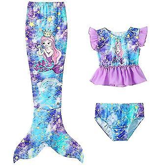 120 Cm lila 3pcs Mädchen Badeanzüge Meerjungfrau für Schwimmen Meerjungfrau x7416