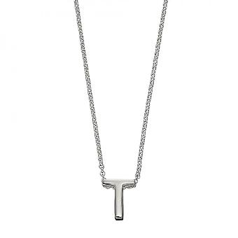 Beginnings Initial T Plain Silver Initial Necklace N4447