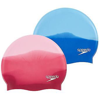 Speedo Multi Colour Silicone Cap Roze/Rood Volwassene