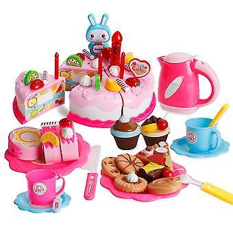 86Pcs ורוד צעצוע של צעצוע סימולציה עוגה להגדיר עם אורות עוגת יום הולדת אחר הצהריים חטיפי תה ילדים מתנות az11180