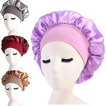 Women Satin Solid Sleeping Hat Night Sleep Cap Hair Care Bonnet Nightcap For Women Men Unisex Cap