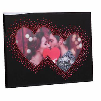 """7"""" x 5"""" - מסגרת תמונה אמיתית ולנטיין זכוכית עם לב כפול"""