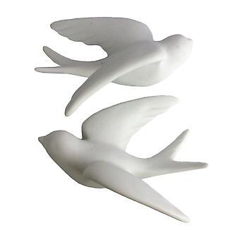 Set von 2 weißen Keramik Spatzen Wanddekor