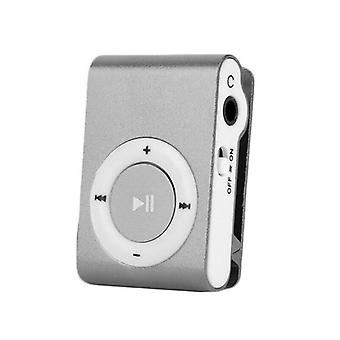 (Zilver) Draagbare Mini MP3-speler Clip USB Play Micro SD-kaart Media Muziekspelers