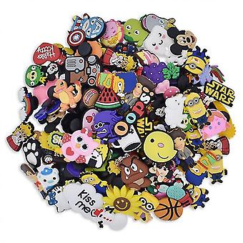 100pcs Random Different Shoe Charms For Clog Shoe & Bracelet Wristband Party Gifts