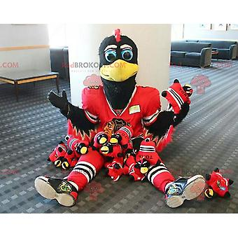 Schwarz-weiß REDBROKOLY.COM Vogel Maskottchen mit rotem Sportanzug
