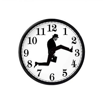 Monty Python Inspired Silly Walk Wall Clock Creative Silent Mute Clock Wall Art For Home Living(black White)