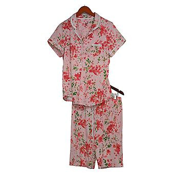 Aria Women's Printed Short Slvs Top & Bermuda Pants PJ Set Pink 637010