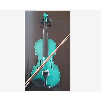 Student Acoustic Violin Size Maple Spruce With Bow Rosin Green