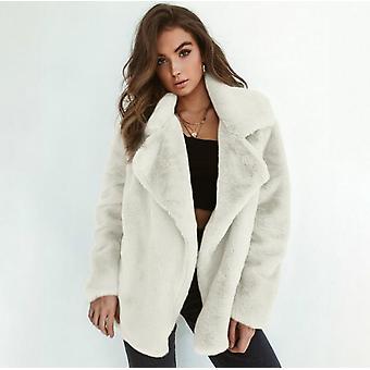 Abrigo esponjoso de mujer Solapa Chaqueta de abrigo Outwear