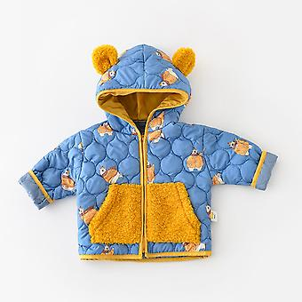 2021 Autumn Cartoon Printing Stitching Hit Color Cotton Zipper Hooded Jacket Kids Jackets For Baby