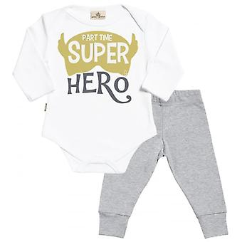 Spoilt Rotten Part Time Super Hero Babygrow & Jersey Trousers Outfit Set