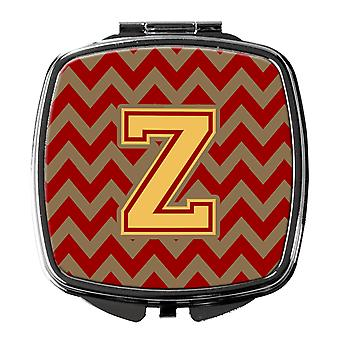 Letter Z Chevron Garnet and Gold  Compact Mirror