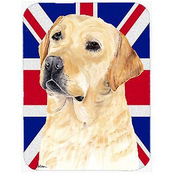 Labrador with English Union Jack British Flag Glass Cutting Board Large Size