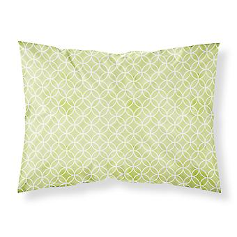 Gemoetric Circles on Green Watercolor Fabric Standard Pillowcase