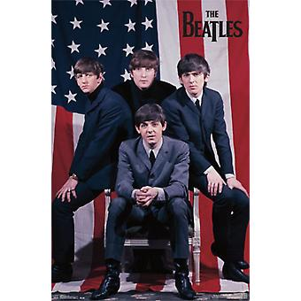 The Beatles US Flag Poster Print (23 x 34)