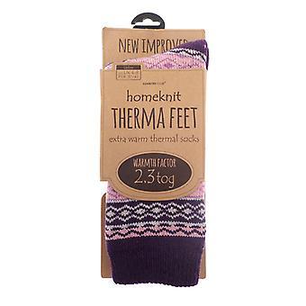 Homeknit dames thermische sokken UK 4-8, paars