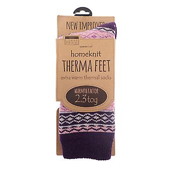 Homeknit hyvät Thermal sukat UK 4-8, violetti