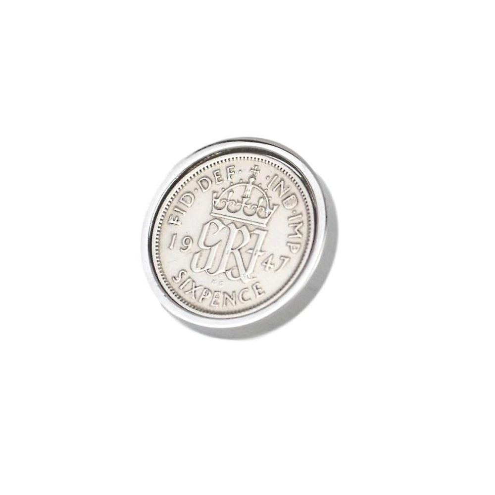Genuine Polished 1947 Sixpence in Lapel Pin | 1947 anniversary, 72nd birthday