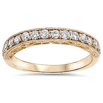 1/3ct Vintage Scroll Design Diamond Wedding Ring 14K Rose Gold