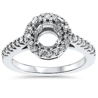 1 / 2ct SI Pave Halo Diamant Verlobungsring Einstellung 14K White Gold