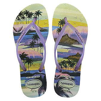 Palm Havaianas, Palm Lilac Straps, metallic logo Slim Style