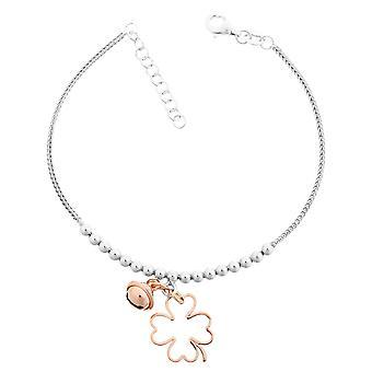 Orphelia Silber 925 Armband mit Charm Blume weiß/Rose 18 + 2 Cm ZA-7110