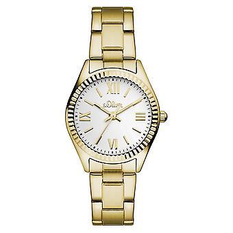 s.Oliver Damen-Armbanduhr Analog Quarz IP Gold SO-15112-MQR