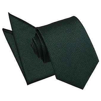 Dunkle grüne griechische zentrale Krawatte und Einstecktuch Satz