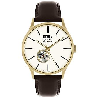 Henry London Heritage Mens Automatic Black Leather Strap White Dial HL42-AS-0280 Watch