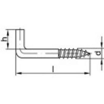 Ganchos de tornillo TOOLCRAFT recta 40 mm de acero electrocincados 100 PC