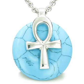 Tous les pouvoirs de vie Ankh égyptien amulette Turquoise bonne chance Donut pendentif
