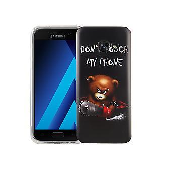 Mobile case for Samsung Galaxy A3 2017 dækning case beskyttende taske motiv slim TPU + rustning beskyttelse glas 9 H Bogstavernes bear med motorsav