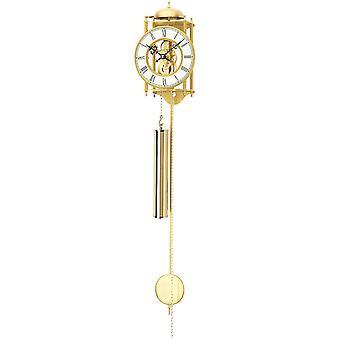 Home clock pendulum wall clock with pendulum case, polished brass