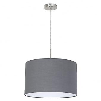Eglo Pasteri 380mm Grey Drum Shade With Nickel Pendant