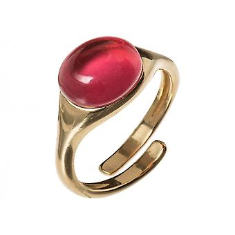 GEMSHINE ring 925 silver, gold plated, rose with red gemstone adjustable size