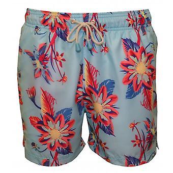 Oiler & Boiler Tuckernuck Original Mid-Legnth Dahlia Floral Print Swim Shorts, Blue/Multi